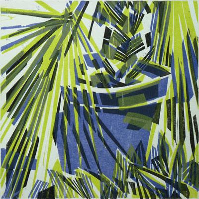Märzpalme, Farbholzschnitt, 25 x 25 cm