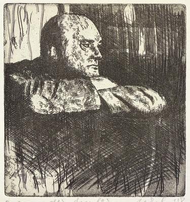 """Der Maler (MB)"" Radierung, Aquatinta, ca 13,5 x 13 cm"