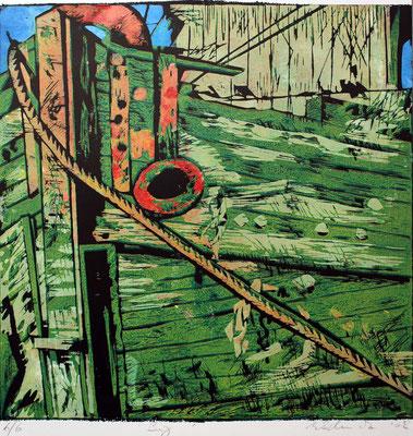 Reling, Farbholzschnitt, 50 x 50 cm