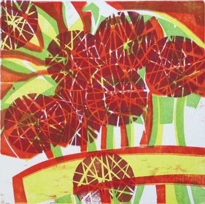 Junimohn, Farbholzschnitt, 25 x 25 cm