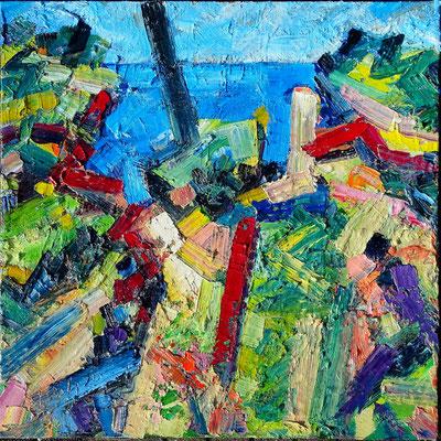 Küste bei A., Öl/Lw 100 x 100 cm, 2020