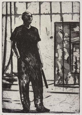 """Der Maler (AK)"" Radierung, Aquatinta, ca 19 x 13 cm"