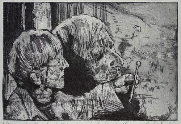 """""""Der Nagel"""" (hommage à Tomi Ungerer),  Radierung, Aquatinta, ca 19,5 x 24,5 cm"""