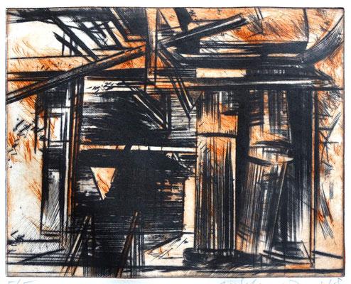 Radierung, Kaltnadel, (2 Platten) ca 19,5 x 24,5 cm
