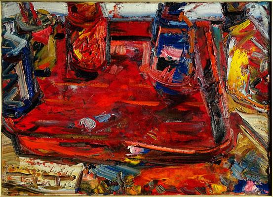 Rote Schale, Öl/Lw 50 x 70 cm, 2018