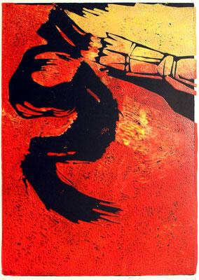 Kalligrafie auf rot, Farbholzschnitt