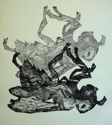 """Dood Mék"" - Radierung, Materialdruck, Prägedruck; ca 30 x 25 cm"