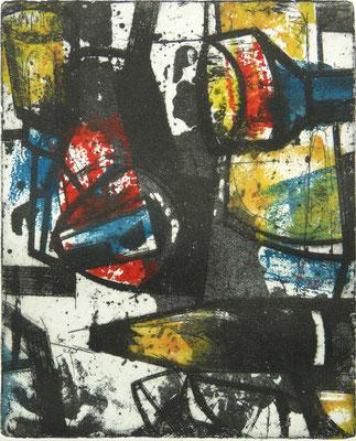 """""""Walze"""" - Radierung kombiniert mit farbigem Hochdruck; 24,5 x 20 cm"""