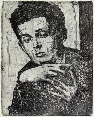 """""""Porträt E. Schiele"""" Radierung, Aquatinta, ca 13 x 10 cm"""