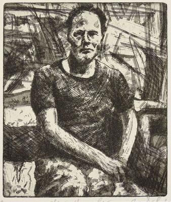 """Der Maler (FA)"" Radierung, Aquatinta, ca 15,5 x 13 cm"