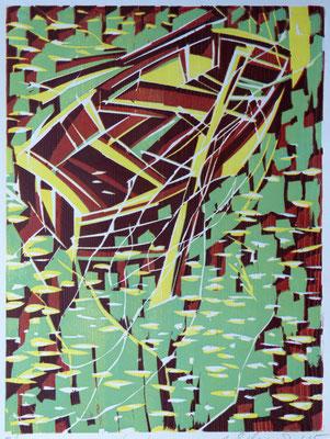 Renesse - Kahn, Farbholzschnitt