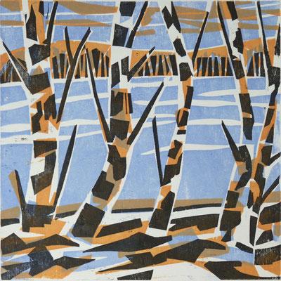 Februarbirken, Farbholzschnitt, 25 x 25 cm