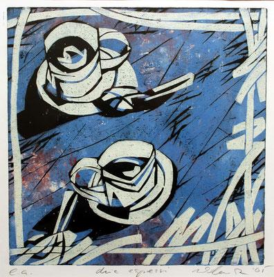 due espressi, Farbholzschnitt, 35 x 35 cm