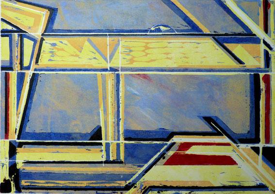 Comewithmetothebeach, Farbholzschnitt, 29,5 x 42 cm