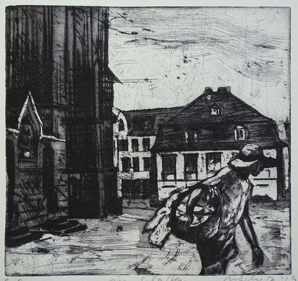 """""""im Schatten"""", Radierung, Aquatinta, ca 23 x 24 cm"""