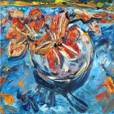 Taglilien, Öl/Lw 100 x 100 cm