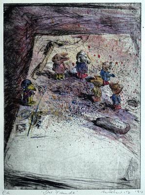 """""""Der Fremde"""" - Kaltnadel-Radierung - aquarelliert; 32 x 24,5 cm"""