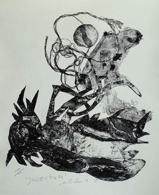 """Insectum"" - Radierung, Materialdruck, Prägedruck; ca 30 x 25 cm"