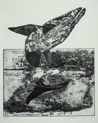 Radierung, Ätzung, Kaltnadel, ca 45 x 35 cm