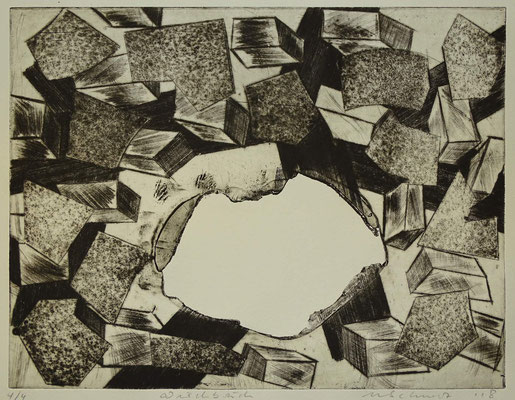 """""""Durchbruch"""", Radierung, Kaltnadel, Sandpapier ..., 24,5 x 32,5 cm"""