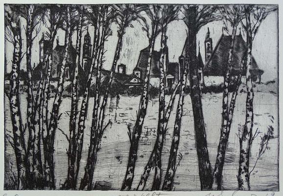 """""""... verstellt"""", Radierung, Aquatinta, ca 19,5 x 29,5 cm"""