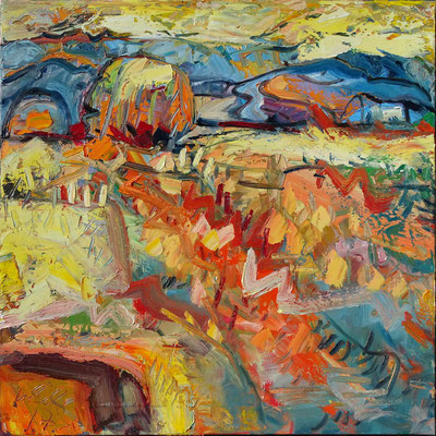 Gelbes Feld, Öl/Lw 100 x 100 cm, 2017