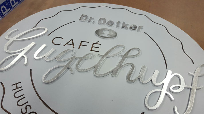 3D Logo aus Aluminium Produktionsfoto, BlackStone Werbetechnik Luzern