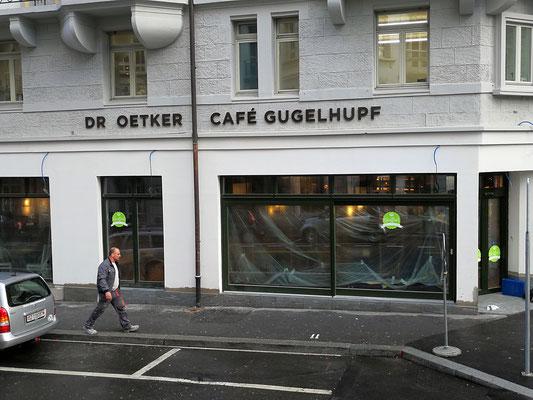 3D - Fassadenbuchstaben für Dr. Oetker Café Gugelhupf Luzern, Produktion und Montage BlackStone Werbetechnik Luzern
