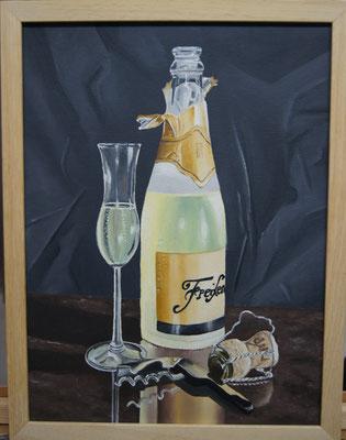 Sektflasche mit Glas 2012, 30 x 40 cm, Preis Fr. 240.-