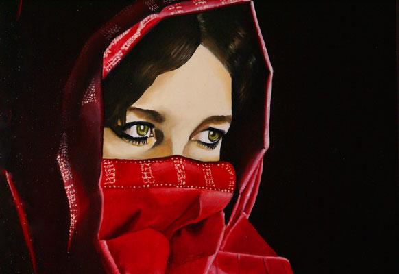 indische Frau mit Schleier 2007, 50 x 40 cm, verkauft
