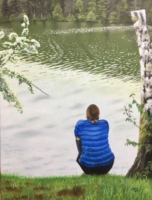 Frau am See, 60x80 cm, Privatauftrag 2018
