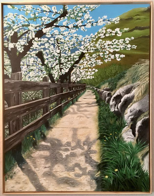 Apfelblüten in Südtirol 70 x 90 cm, Preis mit Rahmen Fr. 610 .-