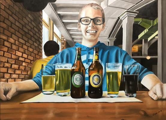 Michael im Restaurant, 4. 2016, 80 x 60 cm, unverkäuflich