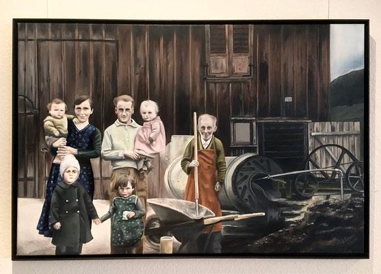 Dreigenerationen Bild, 60x90cm, Vorlage ist ein Sw-Foto von 1938, Privatauftrag 2018