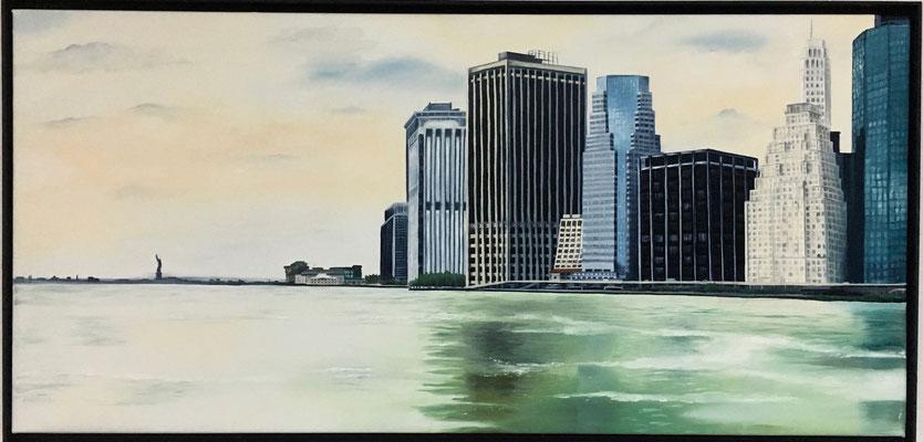 Skyline New York 2017 mit Rahmen, 100 x 47 cm, Preis Fr. 550.-
