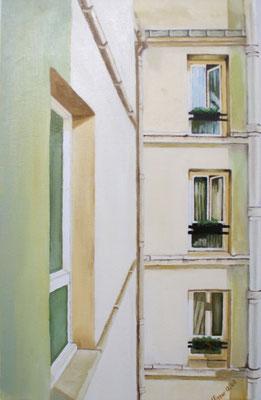 Hinterhof in Paris 2008, 28 x 45 cm, unverkäuflich