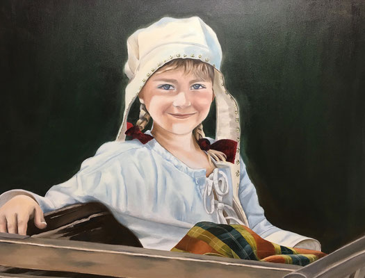 Mädchen im Mittelaltermarkt, 90 x 70 cm, 11. 2016, Preis Fr. 610.-