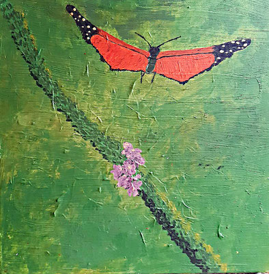 Schmetterling mit lila Blüte