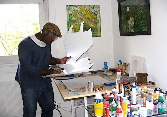 Joël Equagoo im Atelier