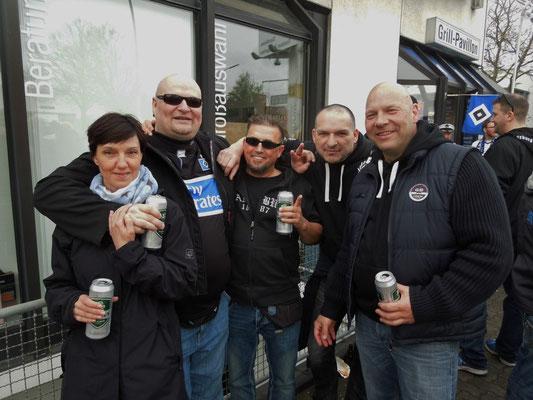 HSV : Augsburg 3:2 25.04.2015 Grillpavillon Hamburg beim Pommeskoenig