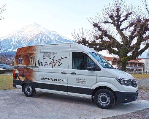 Beschriftung Lieferwagen Holz-Art Saanen Lenk