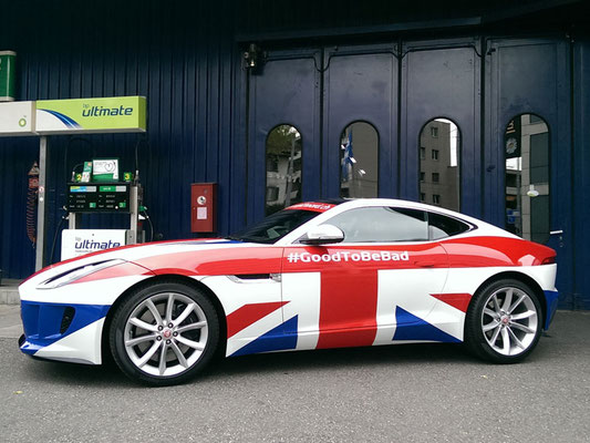 Foliendekor Union Jack auf Jaguar F-Type Coupe