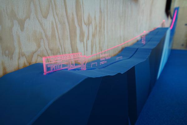 Wichtige Informationen zur neuen Bahn leuchten im Acrylglas