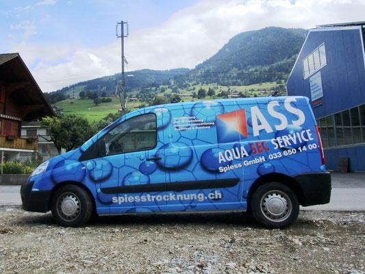 Vollverklebung Fiat Scudo Firma Spiess Trocknung Adelboden