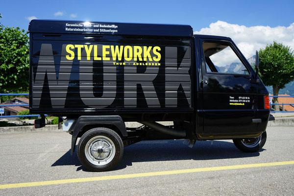 Beschriftung Piaggo Firma Styleworks Thun