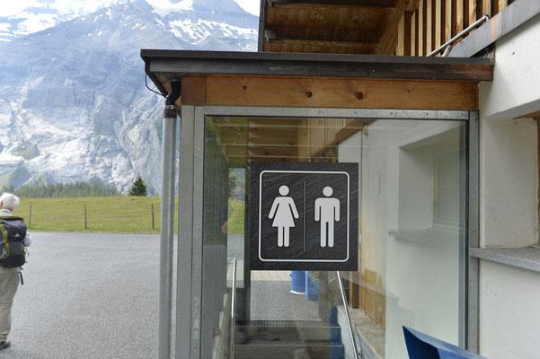 Toilettenanschiften Folienprint auf Glas appliziert
