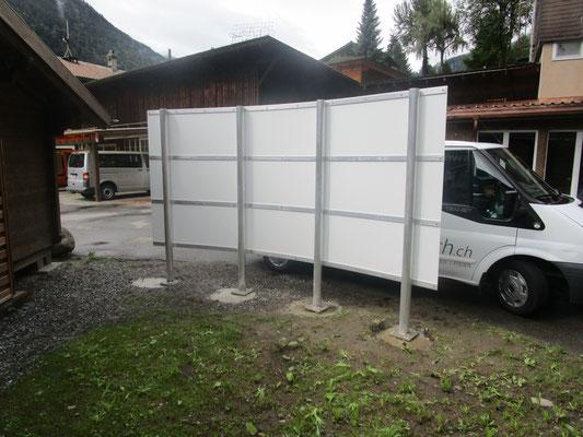 Werbetafel Camping Schützenbach in Lauterbrunnen