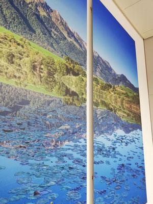 Fotoprint Landschaft auf Aluverbundplatte Spital Thun