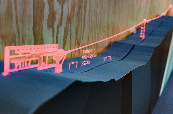 Bergmodell mit eingestecktem Acrylglas