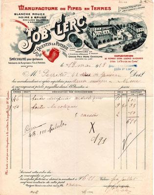 Nota van Franse firma Job Clerq, 1928